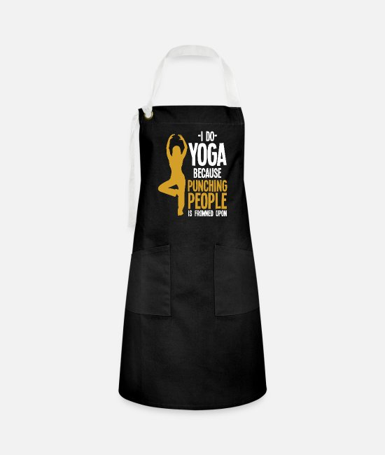 Yogi Aprons - Yoga aggression - Artisan Apron black/white