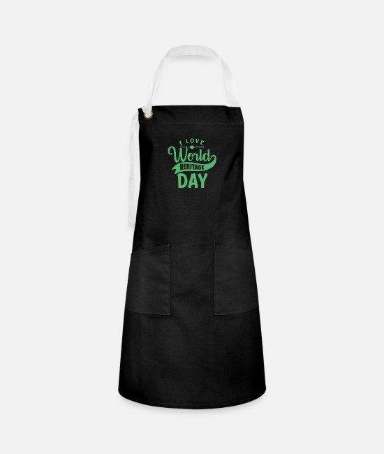 Family Crest Aprons - World Heritage Day - Artisan Apron black/white