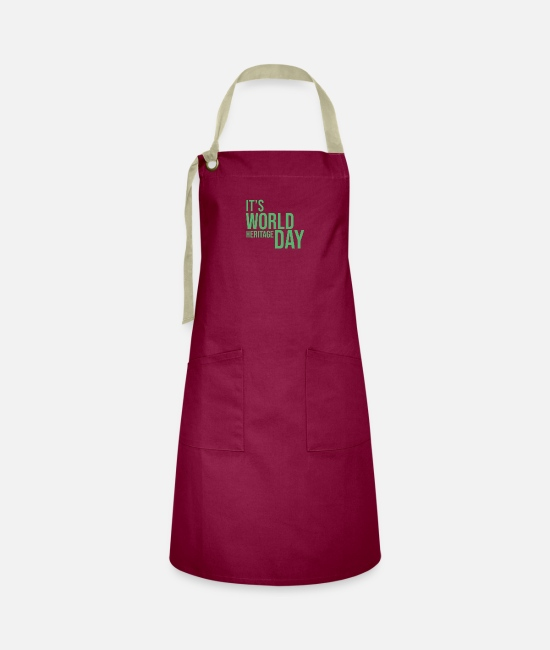 Family Crest Aprons - Day Holiday World Heritage World Heritage World Heritage Site - Artisan Apron burgundy / desert sand
