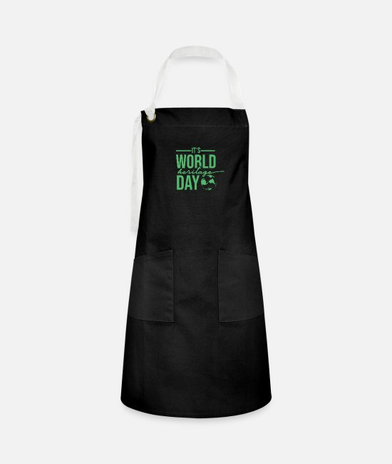 Family Crest Aprons - World Heritage Holiday World Heritage Day World Heritage Day - Artisan Apron black/white
