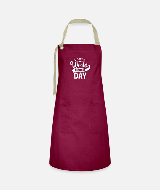Family Crest Aprons - Holiday World Heritage World Heritage World Heritage Day - Artisan Apron burgundy / desert sand