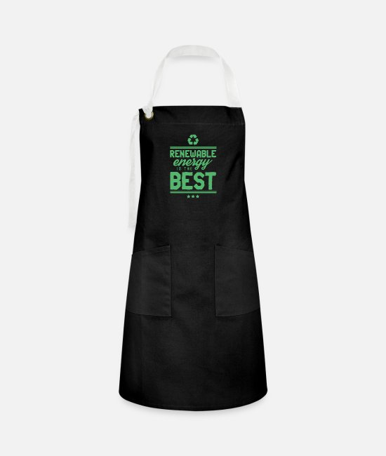Wind Aprons - Green Power Green Power Green Power - Artisan Apron black/white