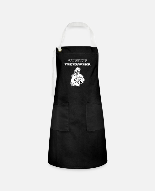 Fire Department Aprons - American Volunteer Fire Department Fireman Heroes - Artisan Apron black/white