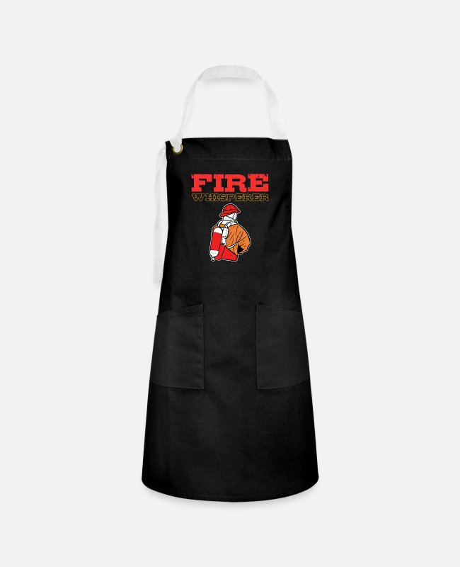 American Aprons - Fire Whisperer Firefighter Captain Firemen Chief - Artisan Apron black/white