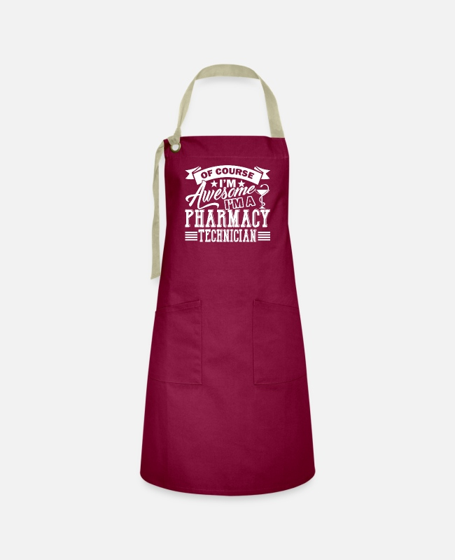 Medicine Aprons - Pharmacy Technician Awesome Pharmacy Technician - Artisan Apron burgundy / desert sand