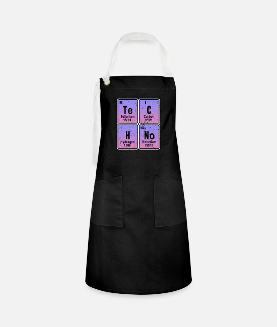 Techno Music Aprons - EDM Elektro Musik Funny Techno Periodic Table - Artisan Apron black/white