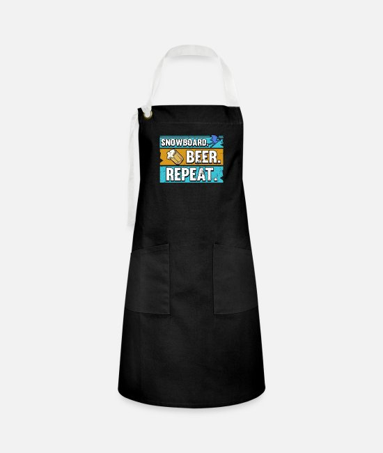 Mountains Aprons - Funny snowboard winter holiday sayings gift - Artisan Apron black/white