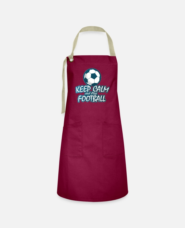 Rugby Aprons - Keep Calm And Play Soccer - Artisan Apron burgundy / desert sand