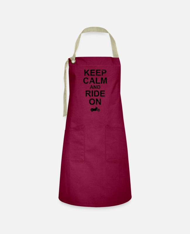 Motorcycle Aprons - Keep Calm And Ride On - Motorcycle - Artisan Apron burgundy / desert sand