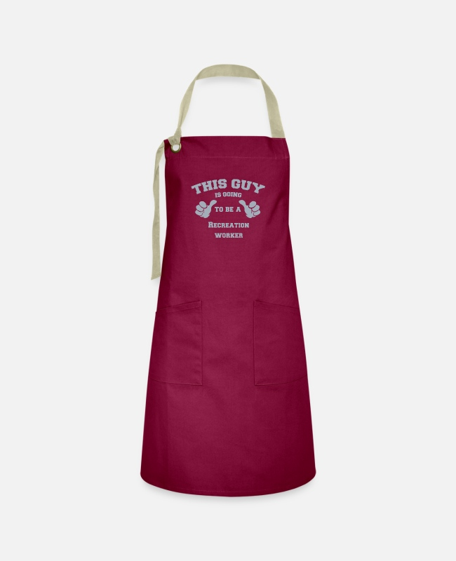 Office Aprons - This Guy is Going To Be A Recreation worker - Artisan Apron burgundy / desert sand