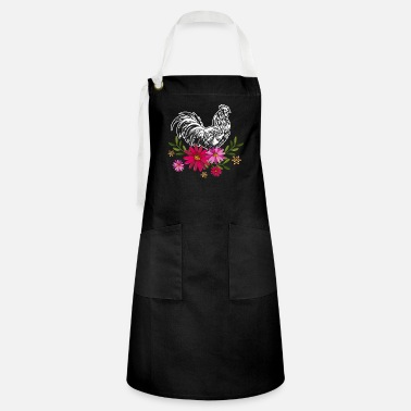 Funny Chicken With Flowers - Artisan Apron