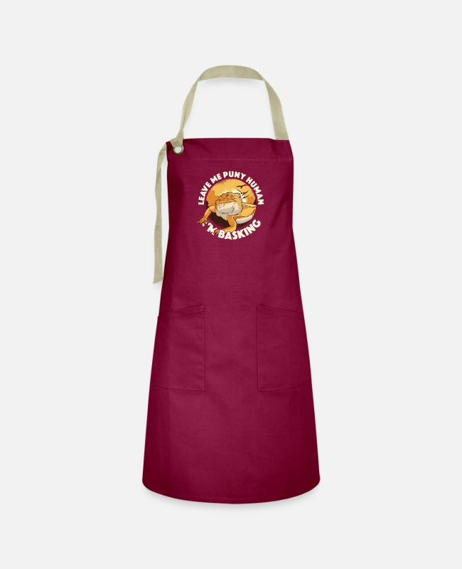 Embarrassing Aprons - Bearded Dragon Reptile Lover Lizard Breeding Gift - Artisan Apron burgundy / desert sand