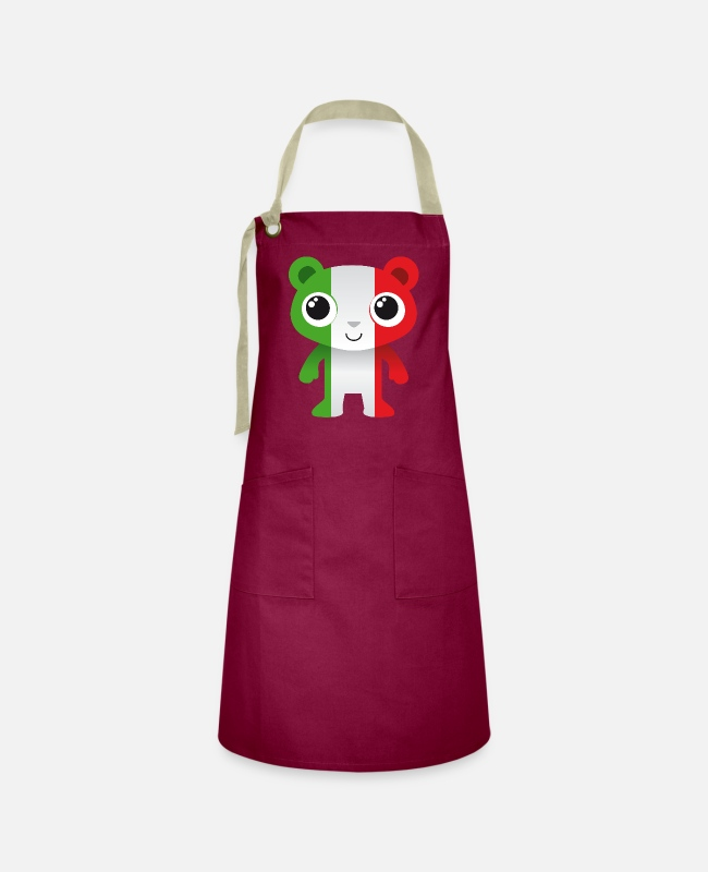 Red Aprons - Bear in colors of the Italian flag / coat of arms - Artisan Apron burgundy / desert sand