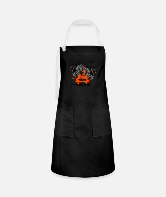 North Sea Tiger Aprons - North Sea Tiger Oil Rig North Sea Aberdeen. - Artisan Apron black/white
