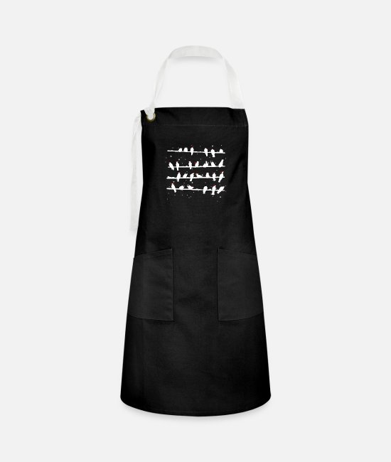 Happy Holidays Aprons - Snow covered Santa Birds - Artisan Apron black/white