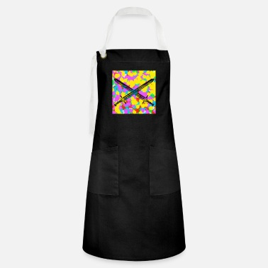 Funky Swords Pop Colour Tie Dye Background Funky Cool - Artisan Apron