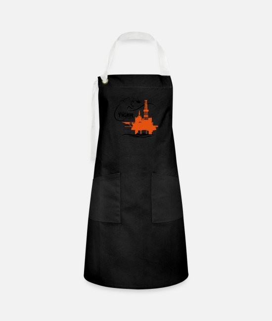 Oil Rig Aprons - Oil Rig Platform North Sea Aberdeen - Artisan Apron black/white