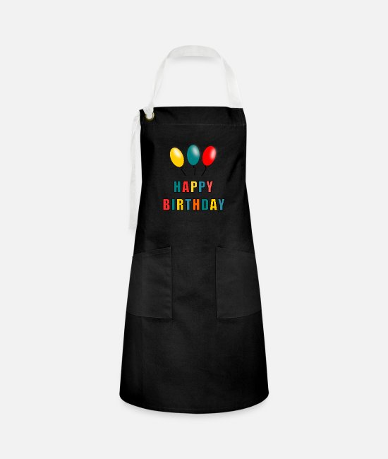 1st Birthday Aprons - HAPPY BIRTHDAY. HAPPY BIRTHDAY. ANNIVERSARY. - Artisan Apron black/white