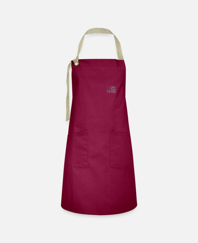Father's Day Aprons - Camo USA Flag American Flag On The Chest Army Styl - Artisan Apron burgundy / desert sand