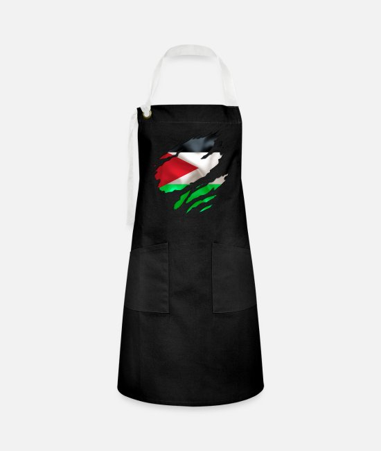 Designs Guinea Visit Wear Logo Nation With African Aprons - cool israel palestine - Artisan Apron black/white