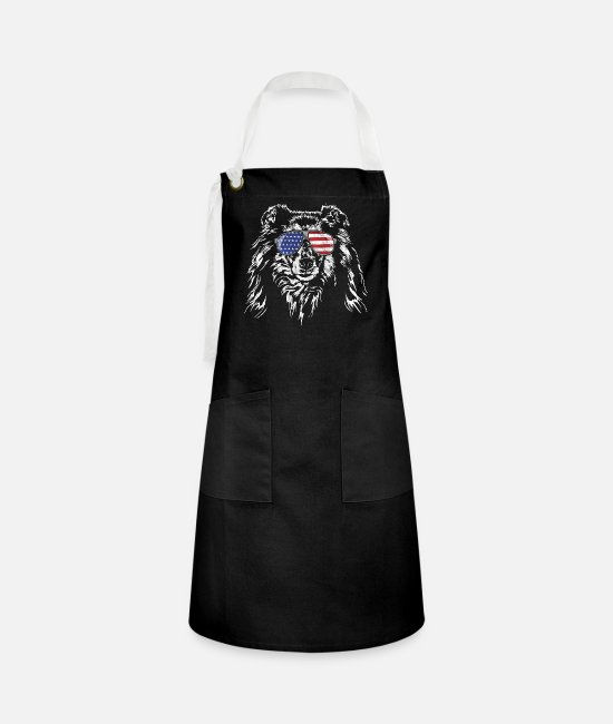 Obedience Aprons - Long hair COLLIE America flag vintage Wilsigns - Artisan Apron black/white