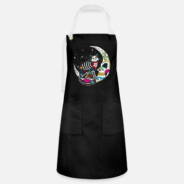 Moon Sugar Skull Cat And Moon Day of The Dead Cat Mom - Artisan Apron