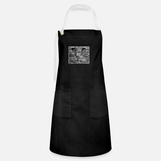 Image Aprons - Cat's face in 6 parts - Artisan Apron black/white