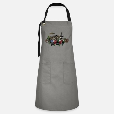 Steam Engine Impressive steam engine with flowers - Artisan Apron
