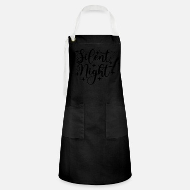 Pretty Silent Night Calligraphy Script Christmas - Artisan Apron