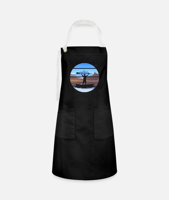 Canada Aprons - The river is calling kayaking gift - Artisan Apron black/white