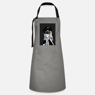 Necktie a smiling black and tan dog with floral necktie - Artisan Apron