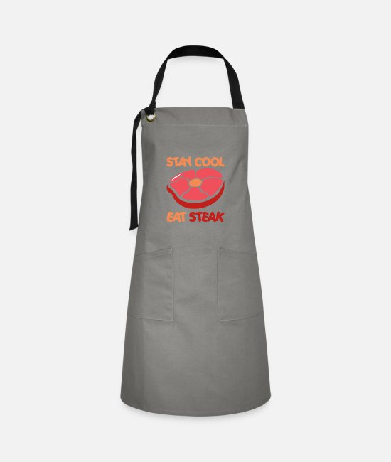 Restaurant Aprons - Stay Cool, Eat Steak. Stay Cool, Eat Steak. grilling - Artisan Apron grey/black
