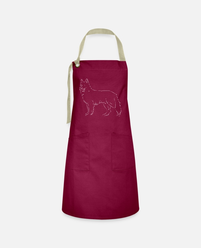 Drawing Aprons - White Swiss Shepherd Dog - Artisan Apron burgundy / desert sand