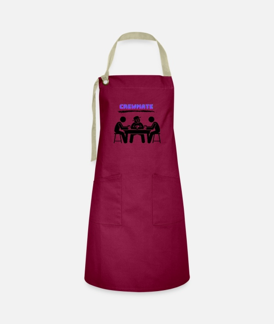 Space Aprons - Among Us Who is the impostor I am crewmate - Artisan Apron burgundy / desert sand