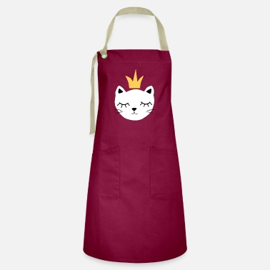 White cat with crown - Artisan Apron