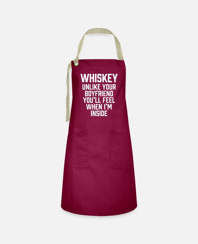 Drunkard Aprons - Whiskey You'll Feel When I'm Inside - Artisan Apron burgundy / desert sand