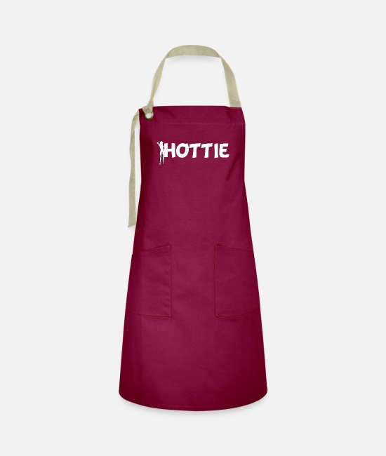 Young Aprons - Hottie sexy woman ladies outfit - Artisan Apron burgundy / desert sand