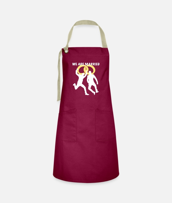 Engagement Aprons - We are married two man white - Artisan Apron burgundy / desert sand