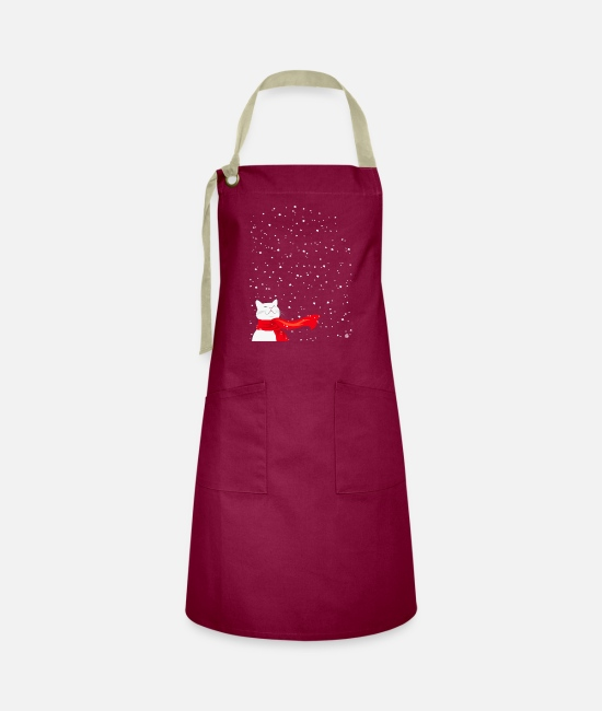 Cat Lady Aprons - White Snowcat - Cat in Snowfall with a red scarf - Artisan Apron burgundy / desert sand