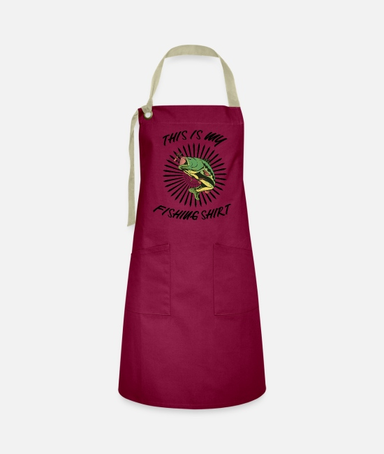 Fish Hook Aprons - This is my fishing shirt - Artisan Apron burgundy / desert sand