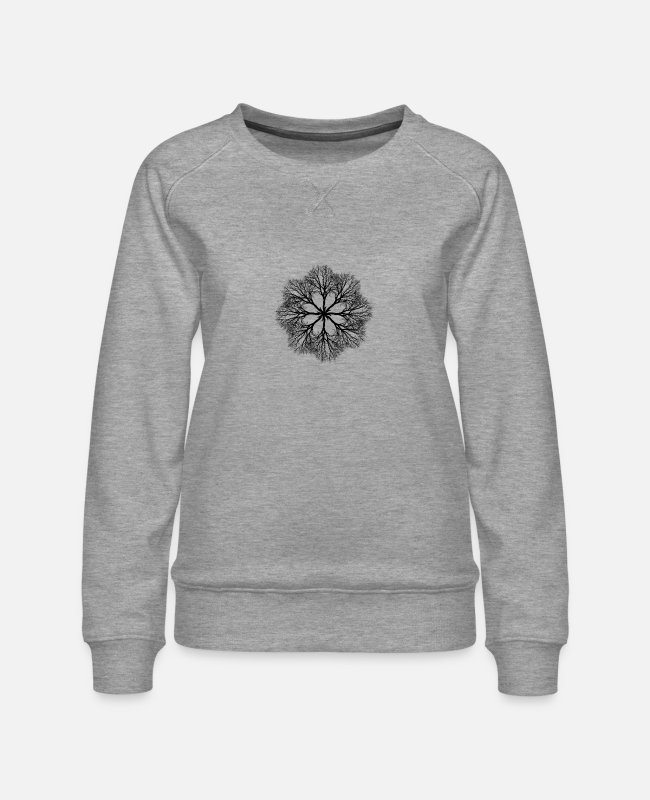 Geometry Hoodies & Sweatshirts - Tree mandala geometry gift idea - Women's Premium Sweatshirt heather grey