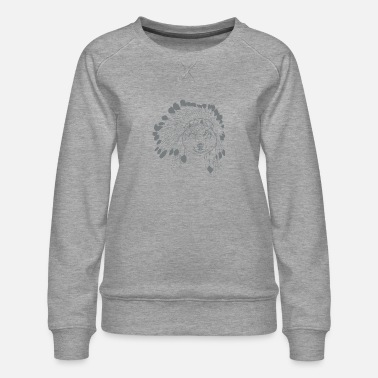 American Indian Wolf Headdress - Women's Premium Sweatshirt