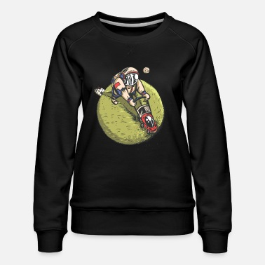 Lawn Mower Astronaut Lawn Mowing Green Planet - Women's Premium Sweatshirt