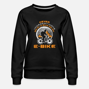 Man Bicycle e-bike cyclist athlete old man - Women's Premium Sweatshirt