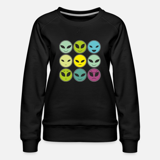 Gift Idea Hoodies & Sweatshirts - Funny alien heads and facial expressions as a pattern - Women's Premium Sweatshirt black