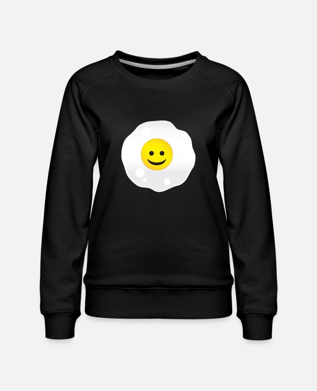 Emoticon Hoodies & Sweatshirts - Face Fried Egg - Women's Premium Sweatshirt black