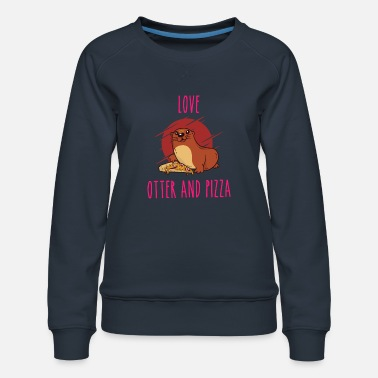 Pizza Love Otter et Pizza Otter Animals Sweet - Sweat ras-du-cou Premium Femme