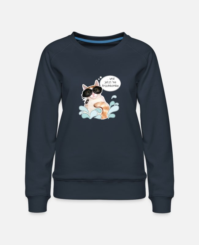 Party Hoodies & Sweatshirts - Cat - summer - vacation - sun - cannonball - DD - Women's Premium Sweatshirt navy
