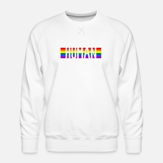 Gay Pride Sweat-shirts - HUMAINS HUMAINS GAY PRIDE LGBT - Sweat ras-du-cou Premium Homme blanc
