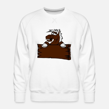Holzschild holzschild funny comic cartoon horse wall shield t - Men's Premium Sweatshirt